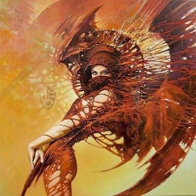 Fantasy Poster Print Painting brown rust Woman Wings 40cm x 40cm BAK