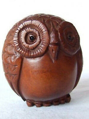 Art Boxwood Wood Netsuke Owl Figurine