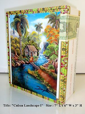 "New, New!!  Cigar Box  w/ ""Cuba Lanscape"" Artworks on Top. Reduced Price!!"