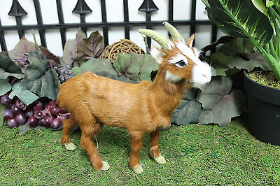Brown Mountain Goat Realistic Taxidermy Replica Figurine Furry Animal