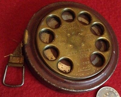 Antique LUFKIN Telephone Brass Dial 50 Ft Foot Linen Corded Tape Measure No.D53