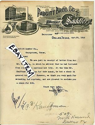 1912 Rare Watermark PADGITT SADDLERY LETTERHEAD DALLAS TEXAS Saddle Maker LETTER