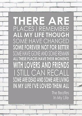 The Beatles In My Life Word Wall Art Typography Words