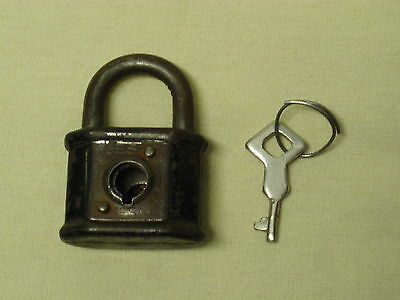 antique padlock lock key metal small scarce hand made GES GESH MADE IN GERMANY!