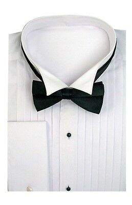 Men's Tuxedo Dress Shirt Wing Collar with Bow-Tie Set French Cuff Size 14.5~20.5