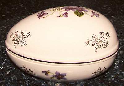 "Vint Lefton Japan Big 5 3/8"" Egg Shaped Lidded Trinket Box Violets Gold 2209 EXC"