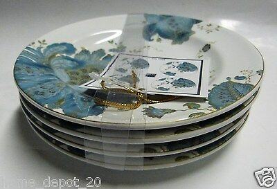 222 FIFTH ELIZA TEAL SET OF 4 APPETIZER PLATES BREAD PAISLEY CAKE SNACK NEW!