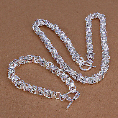 wholesale Sterling solid silver chain necklace&bracelet Jewelry Sets XLSS049
