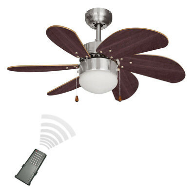 Remote Control 3 Speed Silver / Chrome & Wood 6 Blade Ceiling Fan with Light