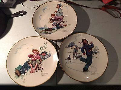 3 Vintage Norman Rockwell Ltd. Edition Plates 1974 Spring, Summer, Winter