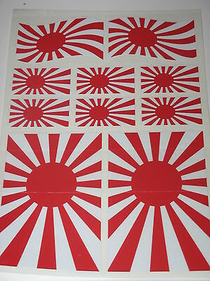 JAPANESE RISING SUN FLAG STICKERS SHEET SIZE 21cm x 14cm