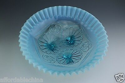 Northwood RUFFLES & RINGS Blue Opalescent Glass Footed Bowl