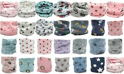 Kid Boy Girl Multi Use Function Neck Warmer Scarf Hat Polka Dots Stars Checkered