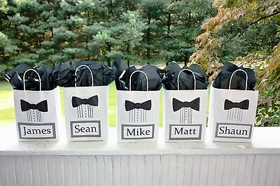 Personalized Wedding Groomsmen Gift bags - Set of 2 with 2 Thank you cards