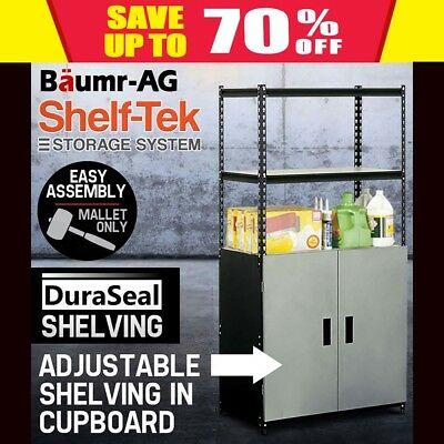 BAUMR-AG 5 Shelf 1000KG Garage Metal Storage Cabinet Shelving With Cupboard