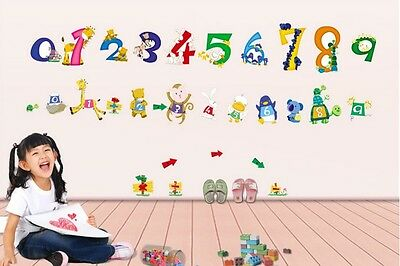 Wall Stickers Animals Numbers  Nursery Decal Kids Baby Room Decor removable