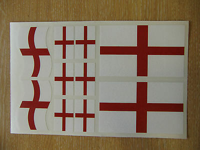 ENGLISH FLAG STICKERS SHEET SIZE 21cm x 14cm - GEORGE CROSS ENGLAND