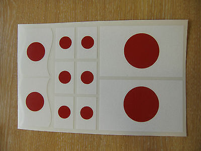 JAPANESE FLAG STICKERS SHEET SIZE 21cm x 14cm