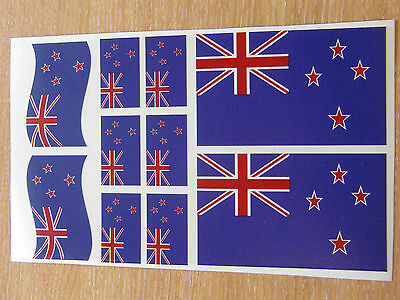 NEW ZEALAND FLAG STICKERS SHEET SIZE 21cm x 14cm