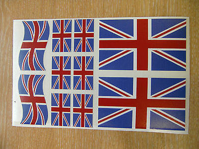 UNION JACK FLAG STICKERS SHEET SIZE 21cm x 14cm - UK