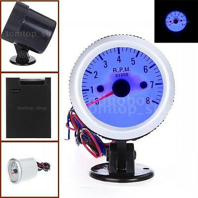 "2"" 52mm 0~8000RPM Blue LED Tachometer Tach Gauge with Holder Cup for Auto Car"