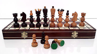 "QUALITY ""PRESIDENT"" WOODEN CHESS SET 45x45! HAND CRAFTED CHESSBOARD & PIECES!!!"