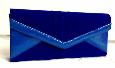 New Royal Blue Velvet Patent Evening Clutch Bag Red Orange Fuschia Pink Nude