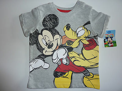 DISNEY Really Cute Little Mickey and Pluto Grey T-Shirt 9-12 Months NWT