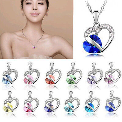 New Fashion Heart Crystal Rhinestone Silver Plated Chain Pendant Necklace Hot