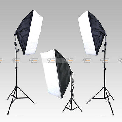 Continuous Lighting Kit III E27 Bulb Lamp Softbox Light Stand for Photo Studio