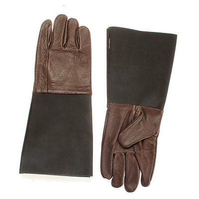 Pair Cowhide Leather Gloves Hand Protection for Reptile Keeper