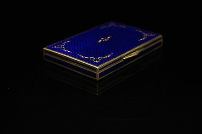 Antique Original Perfect Silver Enamel Gold Decorated Cigarette Case