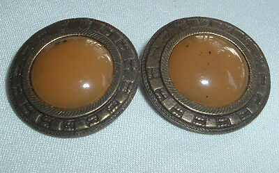Vintage Old Brass Butterscotch Lucite Clip Button Earrings In Gift Box