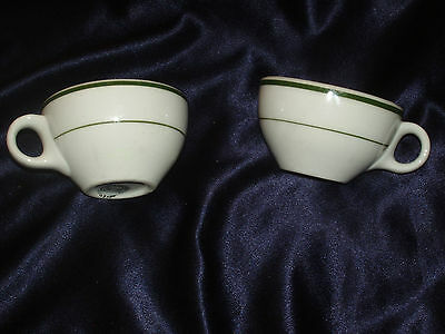 SHENANGO 2 RESTAURANT CUPS GREEN STRIPES BAND NEW CASTLE PA TRIGGER HANDLE RETRO