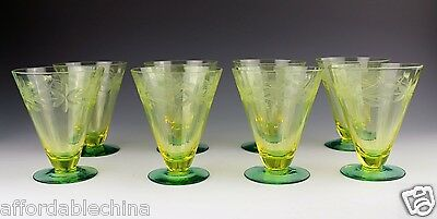 """8 Bi-Color Two-Tone Vaseline Yellow Green Utility Cut Floral 4 1/2"""" Glass Stems"""