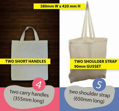 BLANK natural CALICO Tote BAGS BULK Model 4(short) or 5(long):  H 42cm x W 38cm