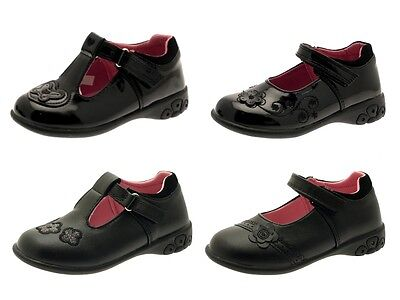 Chatterbox Girls Kids Black School Shoes Flashing Light Up Faux Leather Size