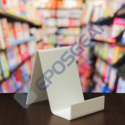 25 Small White Perspex Acrylic Plastic Book Plate Retail Display Stand Holder
