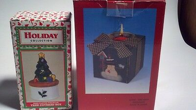 Set of two Christmas decorations - Candle holder and Trinket Box