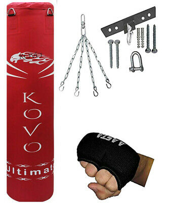 Aasta Boxing Un-Filled Heavy Punch Bag Set with Gloves,ceiling,Chains MMA Pad