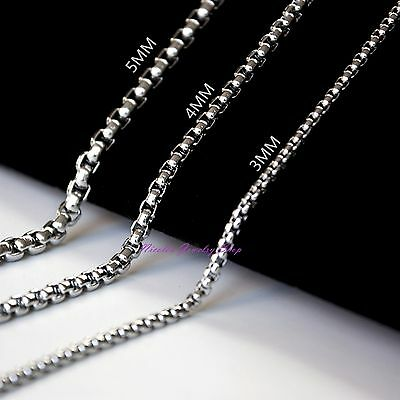 3/4/5mm Mens Silver Stainless Steel Cylinder Box Chain Necklace