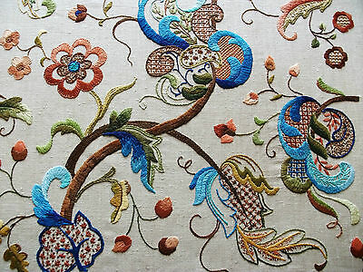 """Vintage Hand Embroidered Picture Panel - JACOBEAN Style FLORA -  25"""" X 24"""""""
