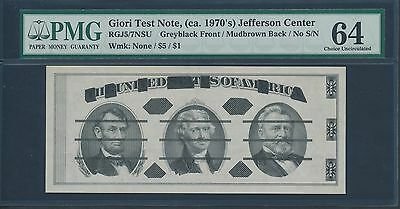 GIORI TEST NOTE 1970's JEFFERSON CENTER PMG 64 CHOICE UNC HV7971
