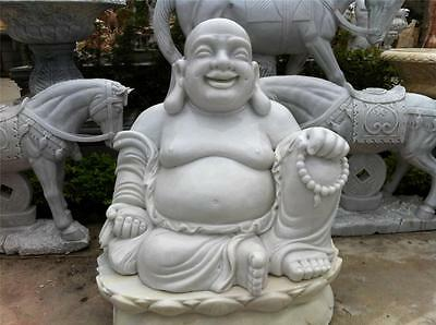 HUGE White Marble Buddha Statue Fat & Happy Indoor / Outdoor from VIETNAM