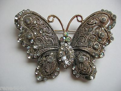 Vintage Beautiful Filigree Aurora Borealis Rhinestones Butterfly Pin Brooch