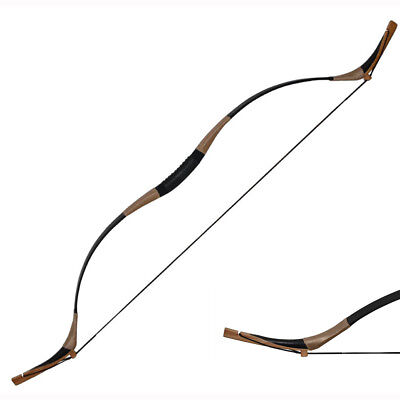 65lbs Traditional Handmade Recurve Bow Pigskin Hunting Longbow Archery Black