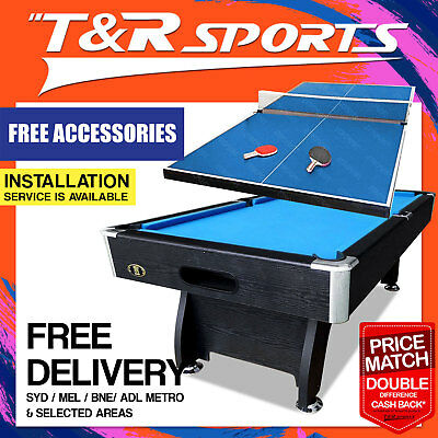 7Ft Pool Table Snooker Billiards; Free Ping Pong And Air Hockey Top!