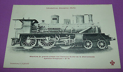 Postcard Cpa Locomotive Train Italia Mediterranee Compound N°61 Rail