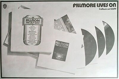"FILLMORE (BILL GRAHAM) - FILLMORE LIVES ON BRITISH PRESS ADVERT/AD 12"" x 8"" 1972"