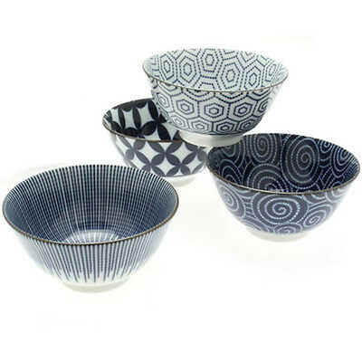"""4 PCS. Japanese 5-1/4""""D Rice Soup Noodle Bowls Dinnerware Gift Set Made in Japan"""